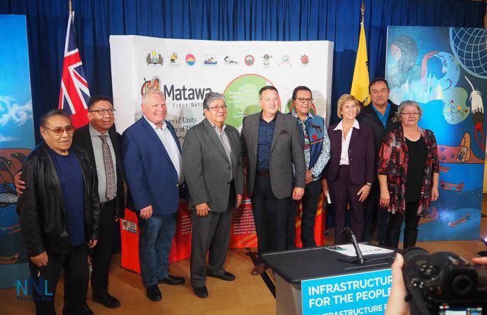 Matawa Chiefs and Officials with Premier Ford, Ministers Rickford and Scott at announcement of broadband Internet Funding