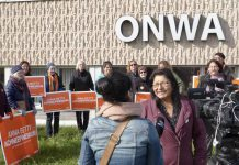 Anna Betty Achneepineskum announced the NDP Gender Equity plans at ONWA