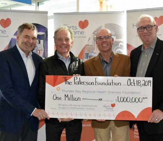 The Paterson Foundation announced a $1 million donation to the Our Hearts at Home Cardiovascular Campaign to bring a full cardiovascular surgery program to Northwestern Ontario; beginning a new chapter in the region's health care history. Celebrating the donation are (l-r): Dr. Stewart Kennedy, Executive Vice President, Regional Programs, Clinical Supports and Medical Affairs, Thunder Bay Regional Health Sciences Centre; Robert Paterson, Director, The Paterson Foundation; Alexander Paterson, Director, The Paterson Foundation and Paul Fitzpatrick, Chair, Our Hearts At Home Cardiovascular Campaign.