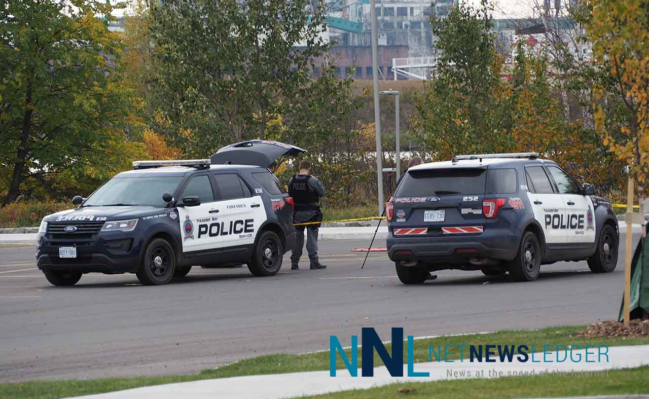 Thunder Bay Police remain on scene at Marina Park - Photo - James Murray