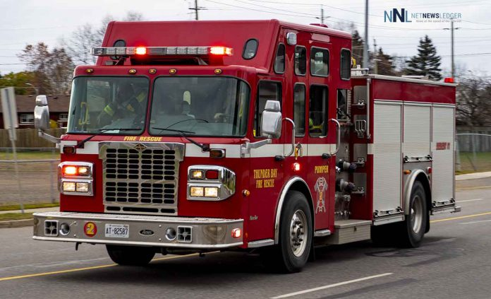 Thunder Bay Fire Rescue Pumper Unit on River Street