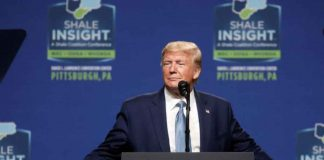 U.S. President Donald Trump delivers keynote remarks at the Shale Insight 2019 Conference in Pittsburgh, Pennsylvania, U.S., October 23, 2019. REUTERS/Leah Millis