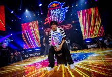 Shinshan from the Netherlands celebrates his victory of the Red Bull Dance Your Style World Final at la Grande Halle de La Villette in Paris, France on October 12th, 2019 // Little Shao/Red Bull Content Pool