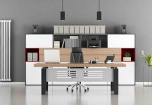 Modern office with minimalist furniture - 3d rendering