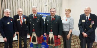 "Pictured are the key participants today (L to R): Our thanks to all: President Rod Morrison, Don Smith (Veteran), Lieutenant-Colonel David Ratz, Dr. Michel Beaulieu, Past-President Brenda Winter (who introduced our speaker), and Veteran M.O. Nelson who read ""In Flanders Field."" — with David Ratz and Michel S. Beaulieu."