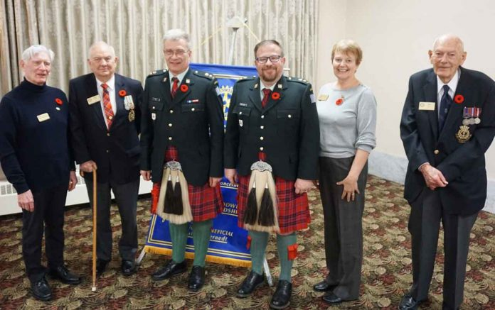Pictured are the key participants today (L to R): Our thanks to all: President Rod Morrison, Don Smith (Veteran), Lieutenant-Colonel David Ratz, Dr. Michel Beaulieu, Past-President Brenda Winter (who introduced our speaker), and Veteran M.O. Nelson who read
