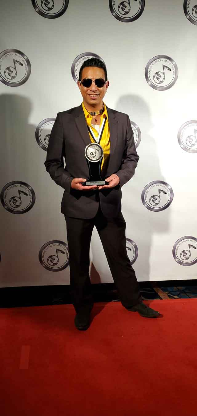 Matt James, a Mattagami First Nation Member, won Best Country/Americana Album Of The Year award at the 19th Annual Native American Music Awards (NAMA) held in Niagara Falls New York recently. Here we see him with is award. (Photo Submitted by Matt James)