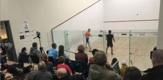 A packed house on hand at Canada Games Complex during the Open A Finals between Nick Persichino and Sean Cameron. Cameron ended up beating Persichino in 5, winning the Open A Division.