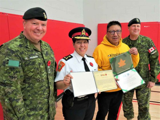 From left, Brigadier-General Conrad Mialkowski, Chief Sylvie Hauth, Grand Chief Alvin Fiddler, and Lieutenant-Colonel Shane McArthur with the army commendations presented to the Thunder Bay Police. - Credit Sergeant Peter Moon, Canadian Rangers