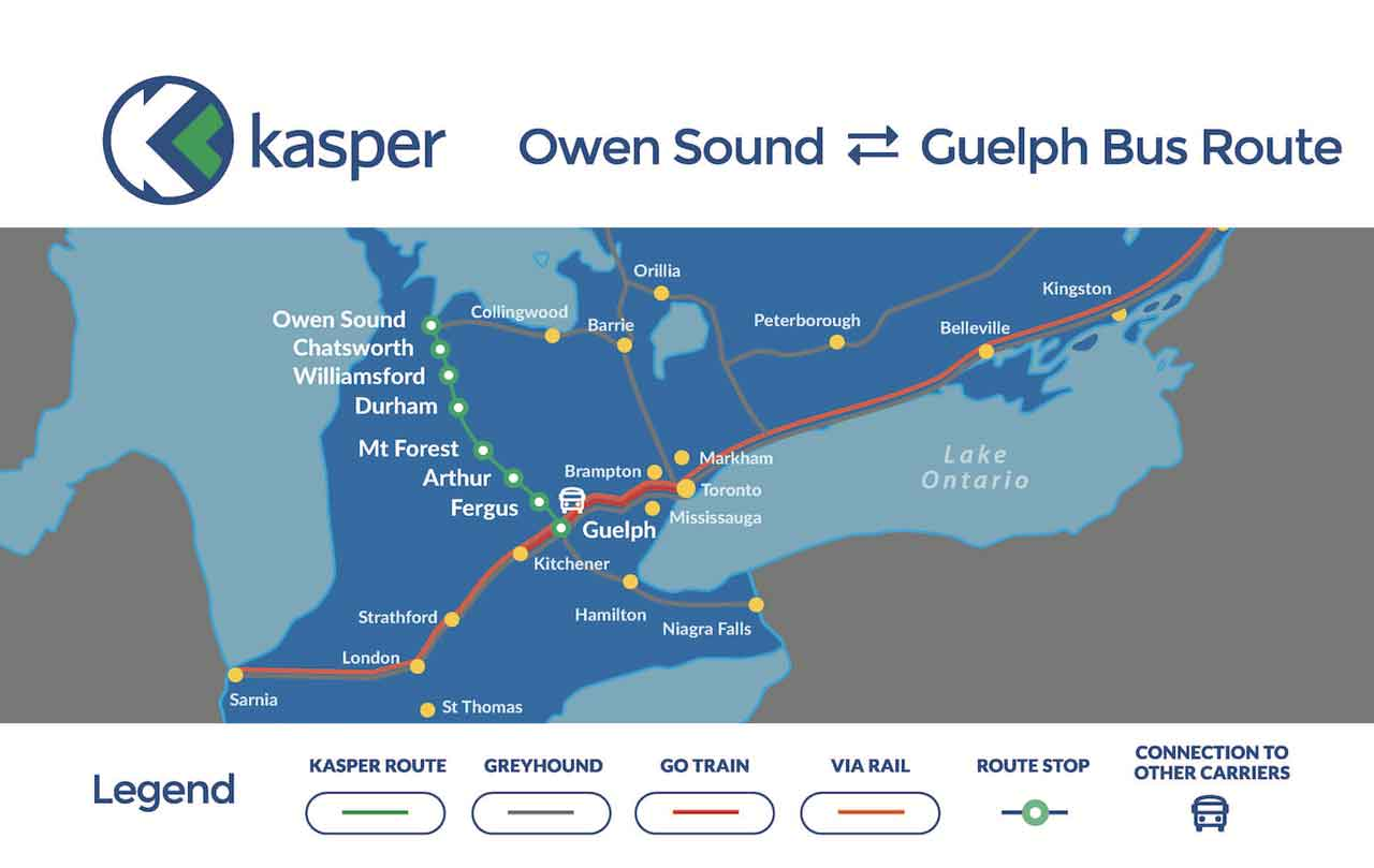 Kasper Transportation Owen Sound to Guelph route map.