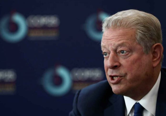 Former U.S. Vice President Al Gore speaks during an interview with Reuters at U.N. Climate Change Conference (COP25) in Madrid, Spain December 10, 2019. REUTERS/Sergio Perez