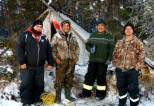 Sergeant Matthew Gull, left, in a 2017 photograph showing him next to missing Peawanuck trapper James Chapman, after he was found by a Canadian Ranger search party. The two Rangers at right are Corporals Mike Koostachin and Maurice Mack. The picture was taken by Ranger Jason Hunter.
