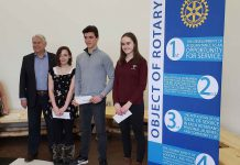 Ken Boshcoff, Rotary Essay Contest Chair, Nicole Shaw, Superior CVI, Third Place; Sonny Hamel, Nipigon-Red Rock District High School, Second Place; Isabella Bosch, St. Ignatius High School, First Place.