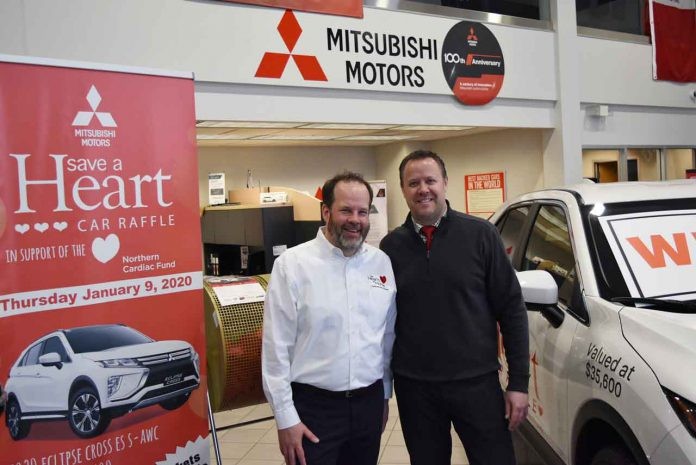 The winning Save a Heart Car Raffle ticket was drawn by Glenn Craig, President & CEO of the Thunder Bay Regional Health Sciences Foundation, and Ryan Witiluk, General Manager of Balmoral Park Acura.