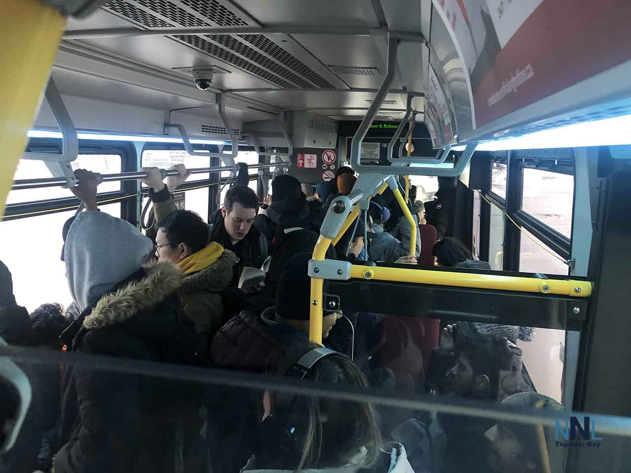 A Very Crowded Thunder Bay Transit bus on the Crosstown Route