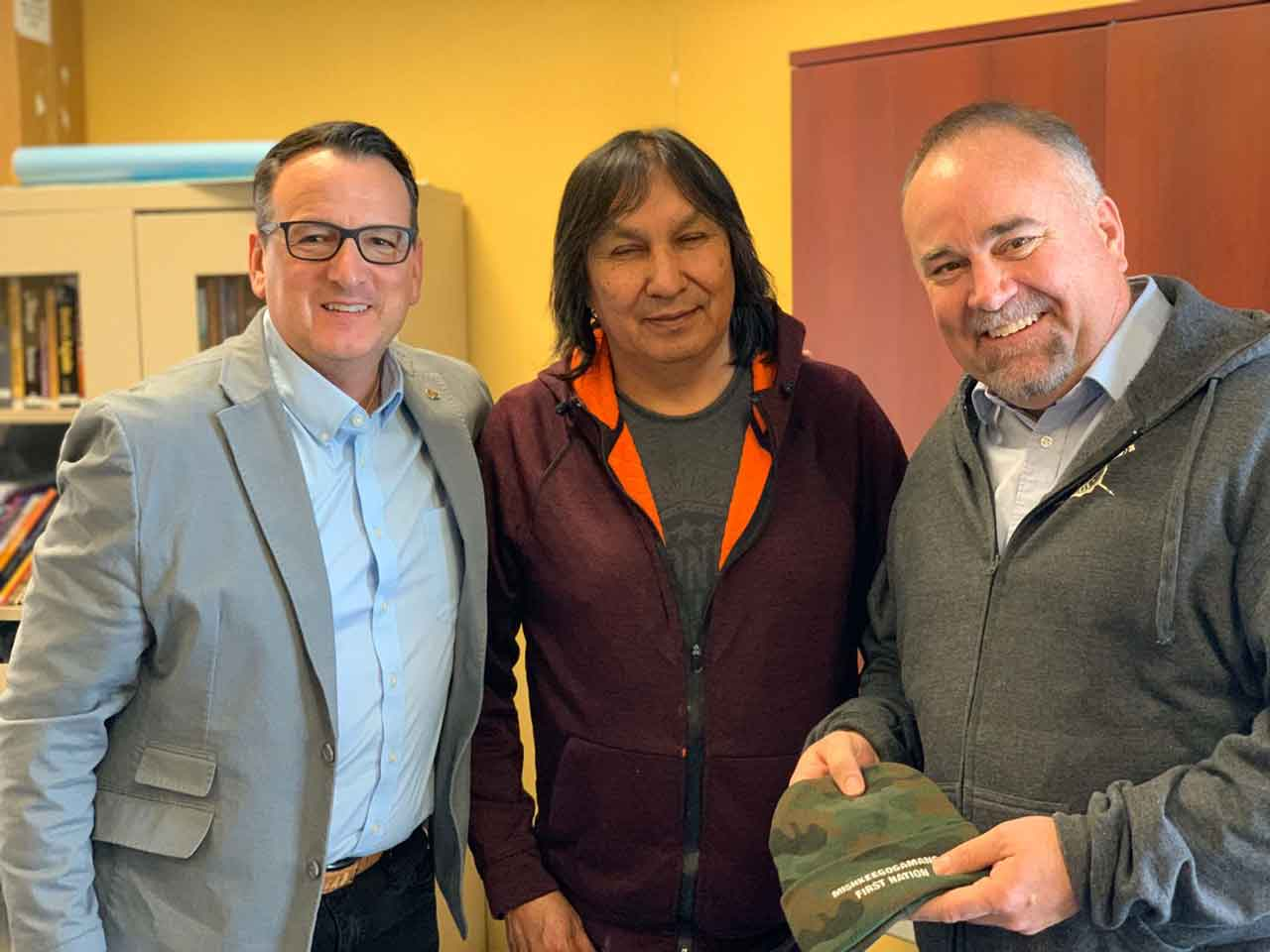 Minister Rickford with Misshkeegogaming Chief Masakeyash and Minister Smith