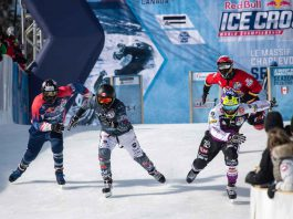 Mirko Lahti of Finland, Shayne Renaud of Canada, Joe Schaffer of the United States and Marc-Antoine Noel of Canada compete during the finals at the ATSX 500, the seventh stop of the Red Bull Ice Cross World Championship in Le Massif de Charlevoix, Canada on February 22, 2020