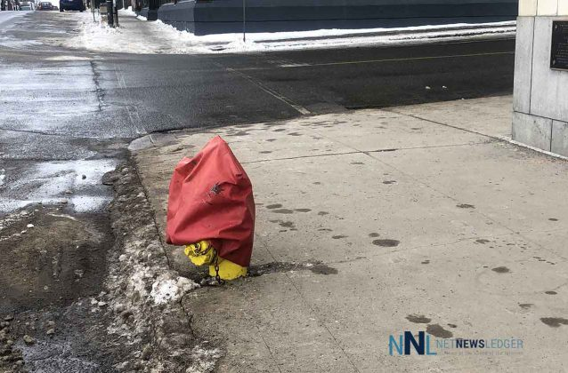 Fire Hydrant out of service on Cumberland Street in front of the Whalen Building