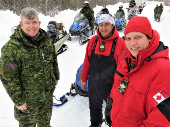 Brigadier-General Nicolas Stanton, left, with Master Corporals Nicky Desmoulines and Giiwedin Kakegabon, both of Long Lake No. 58 First Nation.