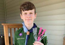 12-year-old Scout Quinn Callander creates ear guards