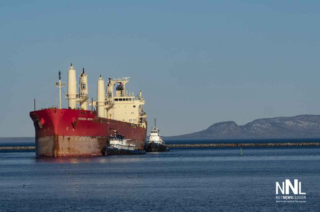 The Federal Bering making her way to dock at the Richardson Elevator