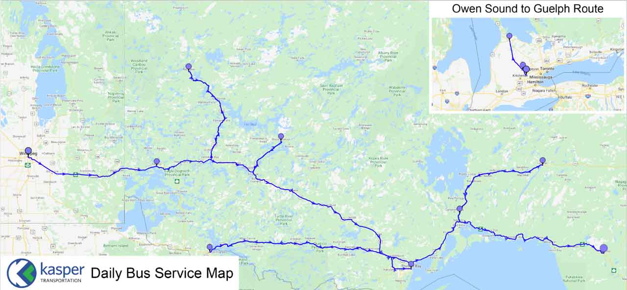 Kasper Transportation Service Map