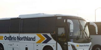 Ontario Northland Transportation bus in Thunder Bay