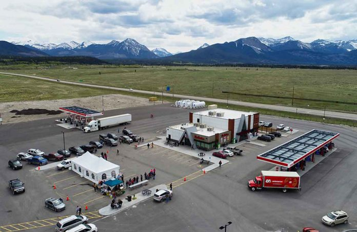 Bearspaw Kananaskis Travel Centre offers highway travellers an Esso gas bar and a Tim Hortons — adjacent to the Stoney Nakoda Resort & Casino.