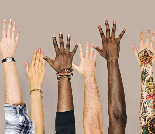 Opinion - Diversity hands raised up gesture