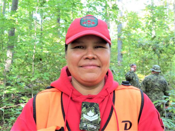 Master Corporal Pamela Chookomoolin found the missing woman. credit Sergeant Peter Moon, Canadian Rangers