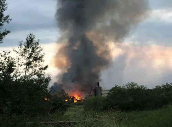 Fire at old Buchanan Mill
