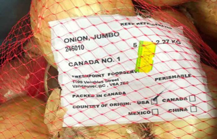 Food Recall Update on Red and Jumbo Onions