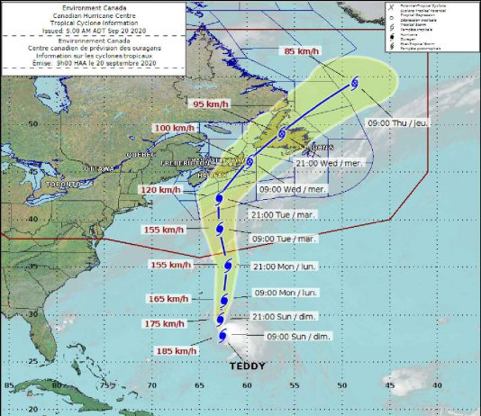 Projected track for Hurricane Teddy a powerful storm in the Atlantic Ocean