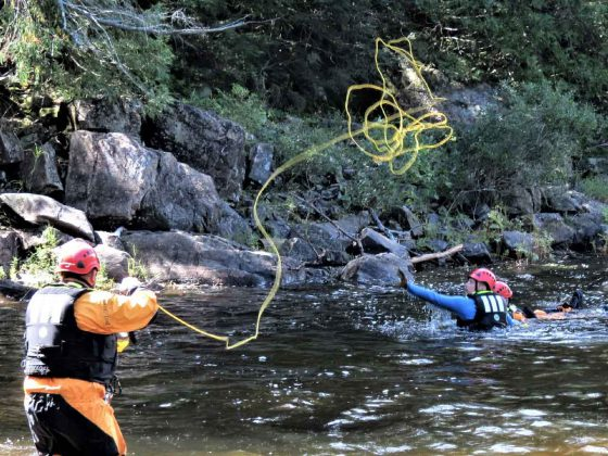 A student practices sending a rescue throw bag during swift water training credit Sergeant Peter Moon