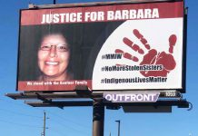 Billboard in downtown Fort William was put up by a Treaty Three member to seek justice for Barbara Kentner