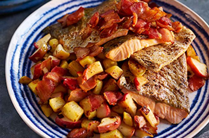 Crispy Skin Trout with Apples and Bacon - Image Foodland Ontario