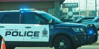 Thunder Bay Police on scene on Memorial Avenue