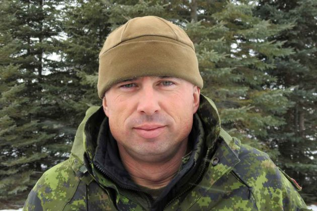 Carl Wolfe, arn army instructor, is working with the Rangers in Ginoogaming. credit Sergeant Peter Moon, Canadian Rangers