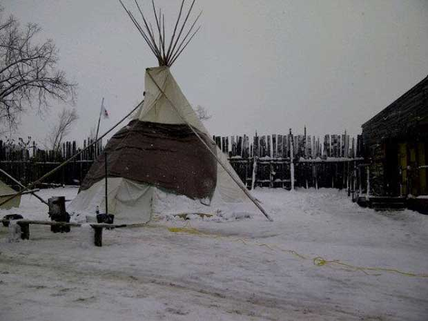 Across the Ottawa River in Ottawa, the Tee Pee where Attawapiskat Chief Spence is holding fast on a hunger strike