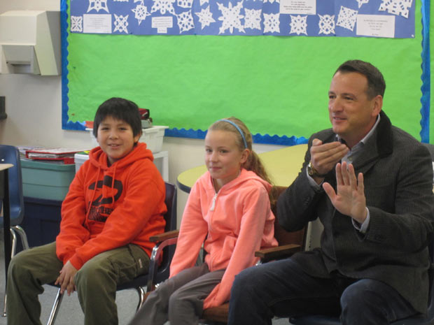 Aboriginal Education Kenora MP Greg Rickford sitting in with students in Mock Parliament exercise.