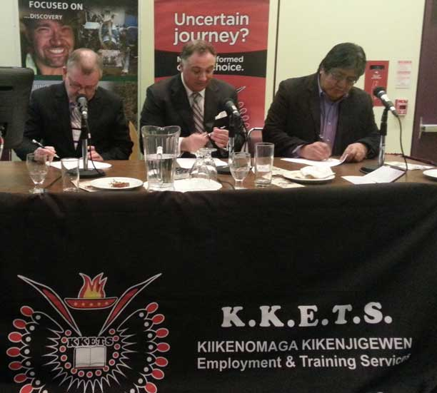 Left to Right (Jim Madder, President, Confederation College; Paul Parisotto, Chief Executive Officer, Noront Resources Ltd. and David Paul Achneepineskum, CEO, Matawa First Nations Management. Courtesy of Jason Rasevych.