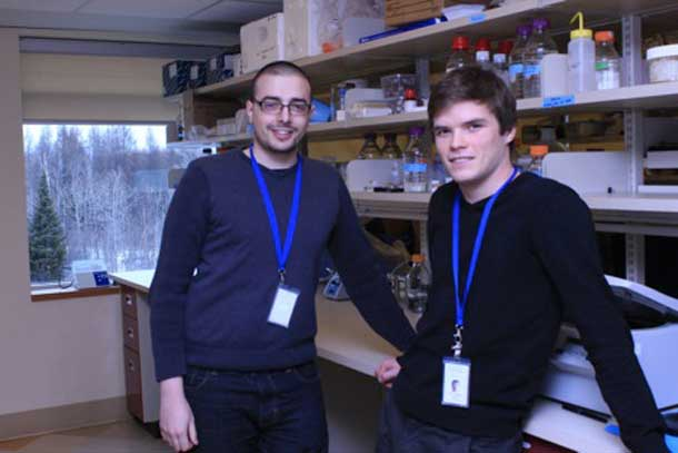 Robert Jackson (left) and Sean Cuninghame (right) are both Thunder Bay natives and proving that you don't have to leave the city to have a successful and rewarding career in science and academia. They both work under Dr. Ingeborg Zehbe, a scientist at TBRRI, focusing on Human Papillomavirus (HPV) type 16 and how it relates to cancer.