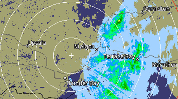 Weather Radar shows precipitation is moving east of Thunder Bay. Rainfall has dropped the Forest Fire Hazard