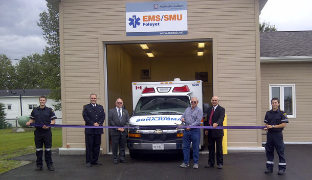 """The Grand Opening of a new EMS station in Foleyet was celebrated on July 26th, 2013. Les Gamble, Chair of the Manitoulin-Sudbury District Services Board reports that """"the Grand Opening of the Foleyet EMS Station was a good community event"""