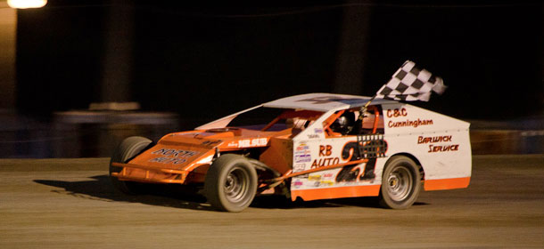 #21D Matt Depiero celebrates his victory at the Emo Speedway and dedicated his win to his Uncle John who passed away suddenly on Saturday.