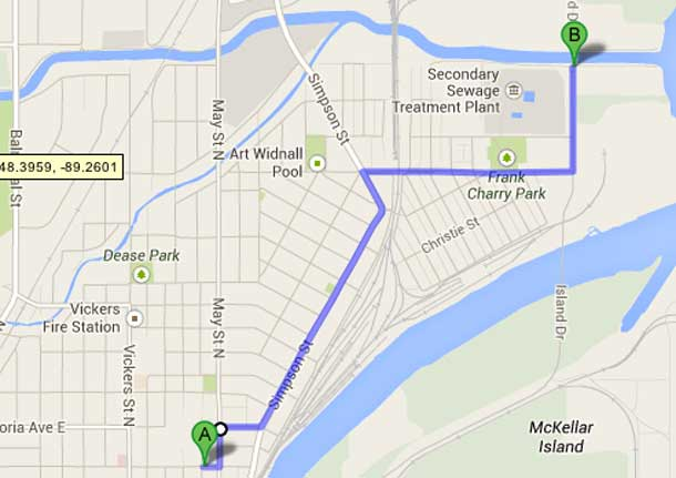 This is the route for the 2013 Full Moon Memory Walk in Thunder Bay