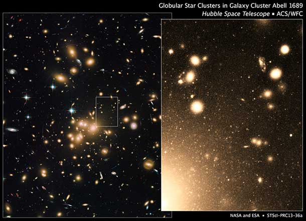 Hubble Space Telescope image of largest known population of globular clusters, in Abell 1689 galaxy grouping. Image Credit: NASA/ESA