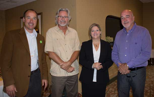 Left to Right - Andrew Foulds, John Rafferty MP, New Democrat leader Andrea Horwath, and Thunder Bay Mayor Keith Hobbs