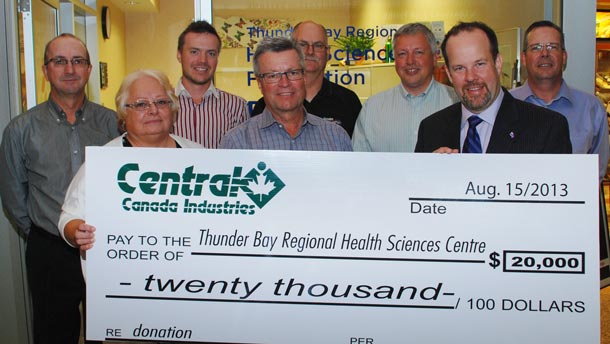 Presenting the proceeds from the 11th Annual Central Canada Industries Charity Classic are, from left to right, Jamie Tomcko, Bea Semenuk, Landon Maunula, Wayne Maunula, Wally Phillips, Chris Michels, Glenn Craig, and Peter Lepage. This year's tournament raised $20,000 which will support the Centre for Diabetes Care at Thunder Bay Regional Health Sciences Centre, the Northern Cardiac Fund and the Northern Cancer Fund.