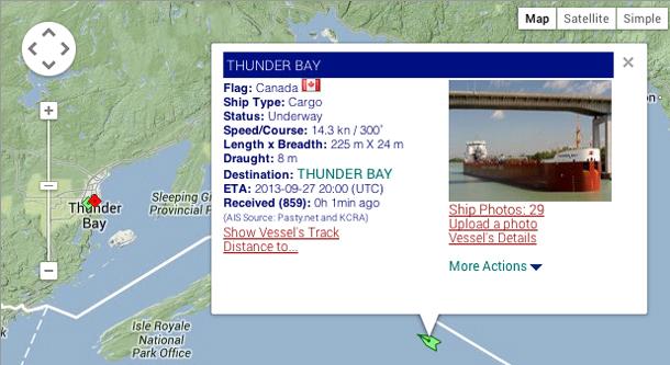 MV Thunder Bay on Ship Map